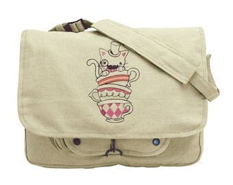 Mr. Whiskers' Tea Party Embroidered Canvas Messenger Bag