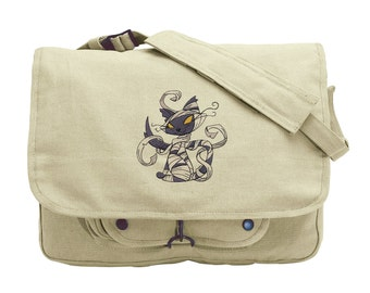 Mummy Kitty Embroidered Canvas Messenger Bag