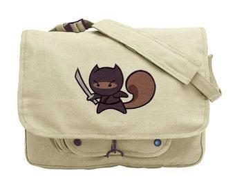 Ninja Squirrel Embroidered Canvas Messenger Bag