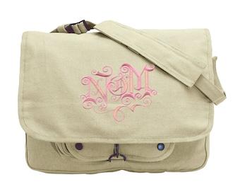 Nom Embroidered Canvas Messenger Bag