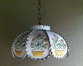 Charming French Country Punched Metal Pendant Light