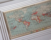 Coffee Sugar And Tea Map 1900s Antique Vintage Map Home decor wall art gift item travel maps