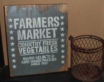 Hand Crafted Rustic Primitive Farmers Market Country Fresh Vegetables Stars Grey & Cream Wood Sign Home Decor Wall Hanging