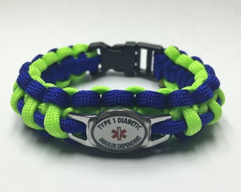 Type 1 Diabetic Insulin Dependent Medical Alert Bracelet