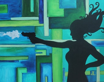Giclee PRINT 5x7 Silhouette Lady James Bond Style Acrylic Gun Shooting Art Woman Wall Art Modern Card