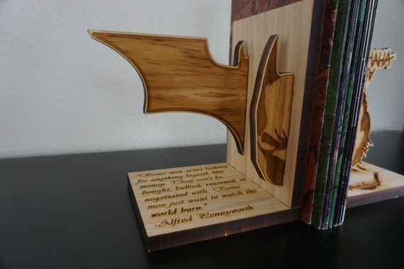 the joker wood batman vs joker bookends