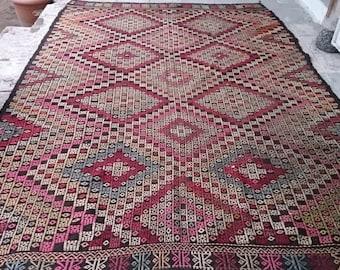 Turkish Vintage Oushak  Kilim Cicim  rug 110x76