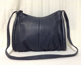 Axiom,Blue leather purse,bag, Dark Blue, 1970s,1980s, Leather , Shoulder Bag ,Purses