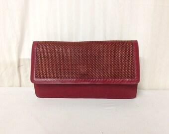 Red leather Clutch, Soft Leather ,Burgundy, Rose ,Purse ,handbag