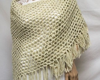 Knit Shawl , Tan,Fringed Wrap