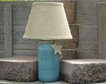 Mason Jar Lamp Base Only No Shade-Rustic Table Lamp-Distressed Mason Decor-Jar  Lamp-Mason Blue River Rock Lamp-Mason accent lamp