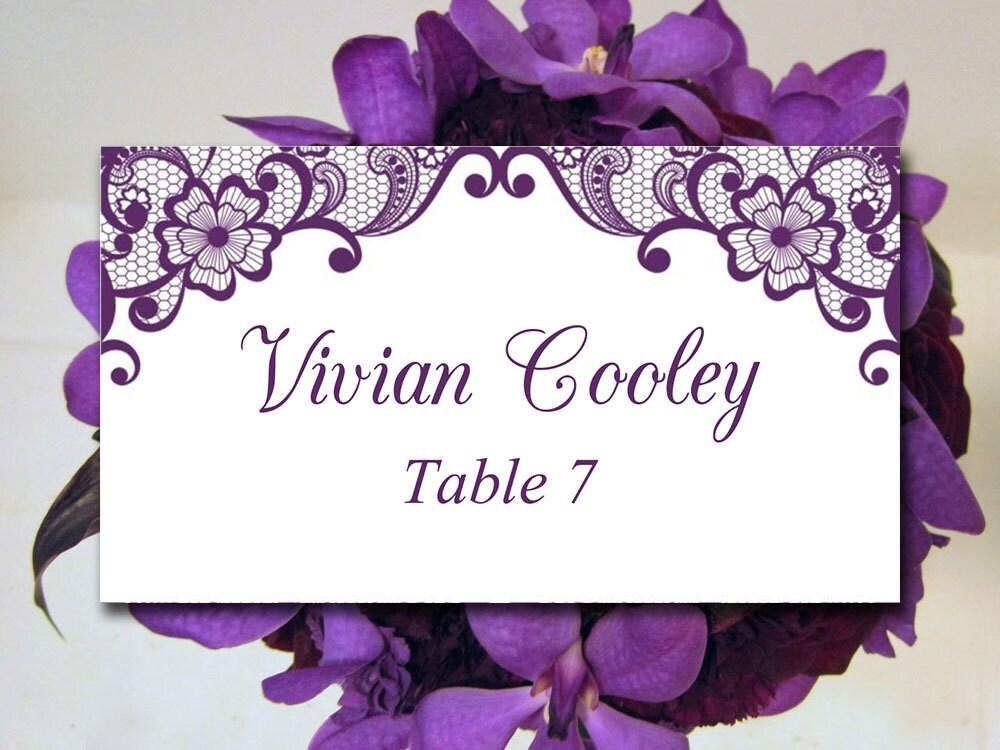 Lace Wedding Place Card Template DIY Escort Card Template