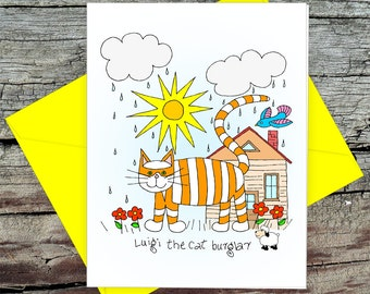 Luigi The Cat Burglar Card with Envelope, Happy Birthday from the Cat, Original Drawing