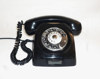 Vintage rotary black telephone, Vintage telephone, Rotary phone, Black retro home decor. Antique telephone socialist period