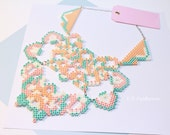 Princess Peach inspired - Chest Plate / Statement Necklace / Brocade / Pastel / Large / Pink / Blue / Trendy