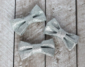 """Set of 3 2.5"""" Silver Structured Glitter Bows - For DIY Headbands & Accessories"""