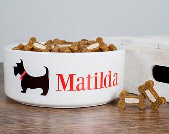 Personalised Dog Food Bowl - Scottie Design - Made to Order - Custom - Large Ceramic Pet Bowl - Dog Bowl - FREE UK DELIVERY!