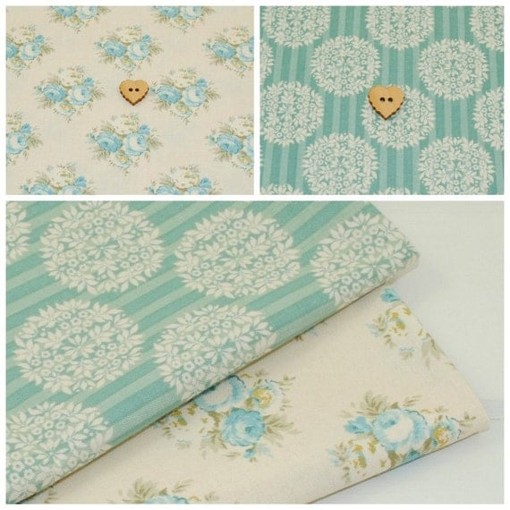 Tilda Fabric Fq Bundle Teal Amp Cream Pack Of 2 Fat