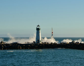 Beautiful Lighthouse, Ocean Waves, And Sailboat in Santa Cruz, CA, Nautical Photography, Ocean Photography, Litghthouse Art, 8 x 12 Print