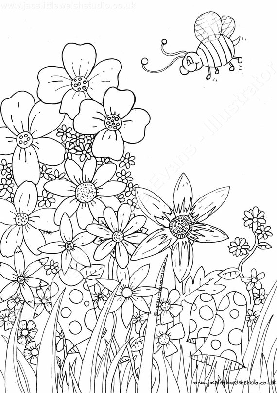 Glorious Garden And Bumble Bee Colouring Sheet For Adults Children Instant Download PDF File