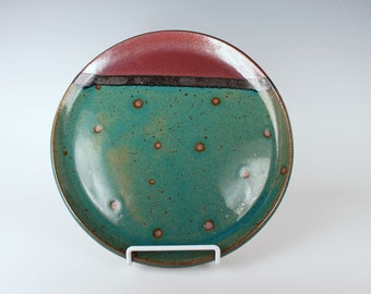 Blue, copper-red, and black ceramic plate, handmade, stoneware pottery