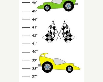 Personalized Race Cars Canvas Growth Chart