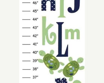 SALE Personalized Abc Turtle Canvas Growth Chart