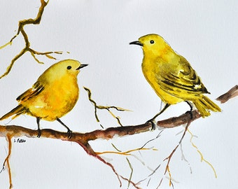 ORIGINAL Watercolor Painting Yellow Warbler Birds on a Branch illustration 6x8 inch