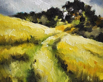 Original Oil Painting, Farmland Landscape Art, Grain Field Painting 6x6 Inch