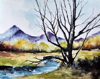 ORIGINAL Watercolor Painting, River Landscape, Fine Art Colorful Painting 6x8 Inch