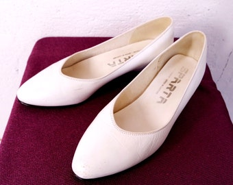 Vintage White Wedge Shoes Low Wedge Pump Leather Balerinas Sparta of Denmark Size UK 5 EU 38 7 7.5