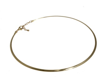 "Bright Gold Color Neckwire Choker 15"" - 16"" Necklace in Gold Tone  * FREE Shipping in USA *"