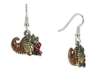Bursting with Color Cornucopia Earrings in Silver Tone, Celebrate Thanksgiving, Fall, Harvest * FREE Shipping in USA *