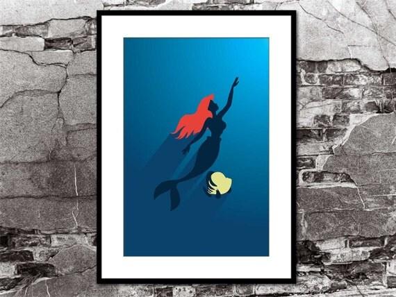Ariel & Flounder - The Little Mermaid - Disney Inspired - Movie Poster Art