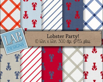 Lobster Party Digital Paper Red White and Blue New England Clam Bake Seafood Scrapbooking Background Paper Instant Download for Personal Use