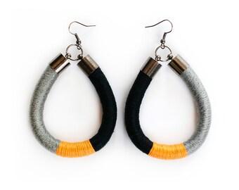 Oval statement earrings, Thread wrapped fiber earrings, Yellow black grey earrings, Boho Earrings, Color block ethnic earrings