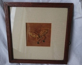 Antique Hand Embroidered Butterfly Silk Embroidery in Original Frame Early 1900's Hand Made Art