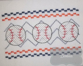 Baseball Faux Smocking - Baseball Embroidery Design - Sports Faux Smocking - Sports Embroidery Design - Softball Faux Smocking
