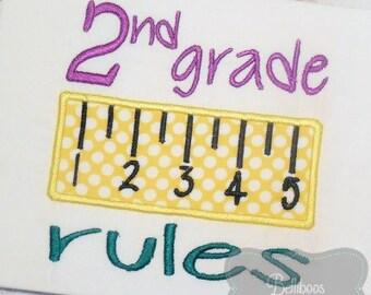 School Applique Design - Back to School Applique - First Day of School Applique - 2nd Grade Applique - Applique Design