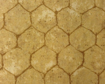 One Half Yard of Fabric Material -  Chicken Wire, Gold