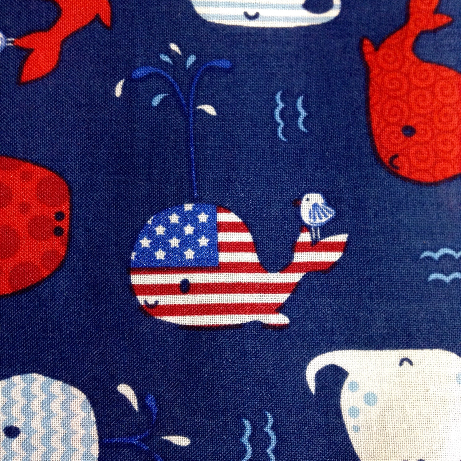 Sale one half yard piece of fabric material patriotic for Whale fabric