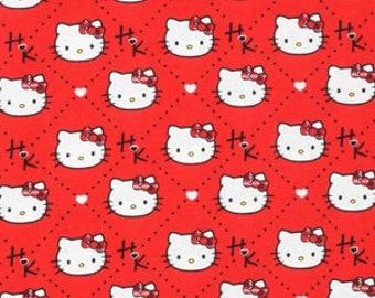 Sanrio - Hello Kitty Diamond Plaid Red Cotton Fabric
