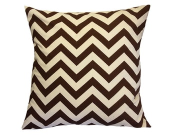 "15% OFF! Brown Chevron Pillow Cover. 18"" x 18""."