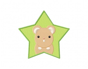 INSTANT DOWNLOAD Hamster Star Machine Embroidery Design