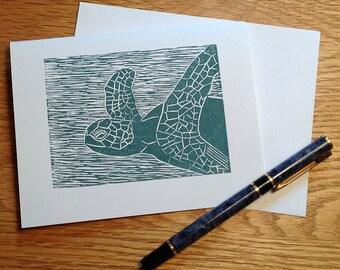 Sea turtle linocut block print card