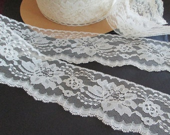 "Flat Lace 3"" by  5-50 Yards Ivory, Ecru Scalloped  Flowered Wedding Lingerie Gifting"