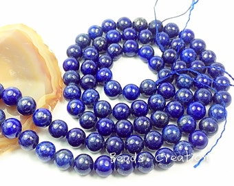75% Off Sales -62pcs of Lapis lazuli 6mm smooth round beads, 15.5 inches Full Strand