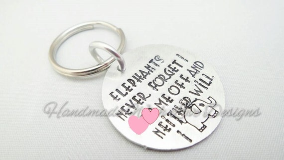 Hand Stamped Keyring - Elephants never forget