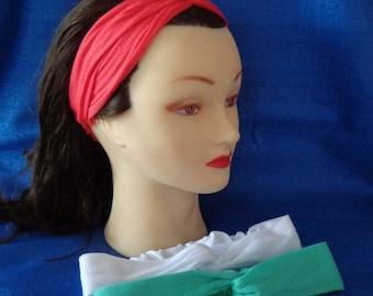3 Ladies Knit Turban Style Headbands Headwraps Knot Headbands Coral Headband, Mint Headband & White Headband