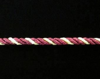 "301.1 REMNANT Burgundy/gold cord 3/16"" (5mm) - 1y 18"" long"